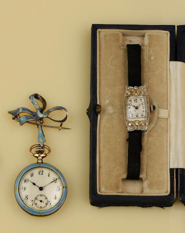 A diamond cocktail watch and an enamel fob watch (2)