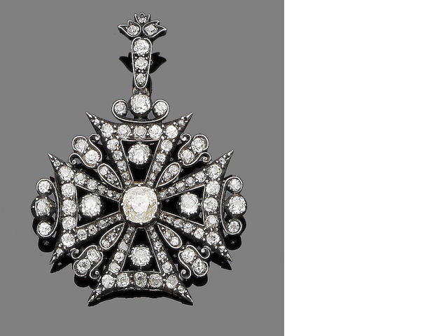 A late 19th century diamond Maltese cross brooch/pendant,