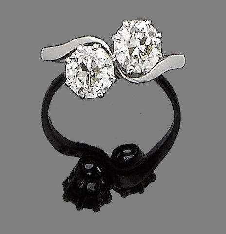 A diamond two-stone ring diamonds approx. 1.95cts total