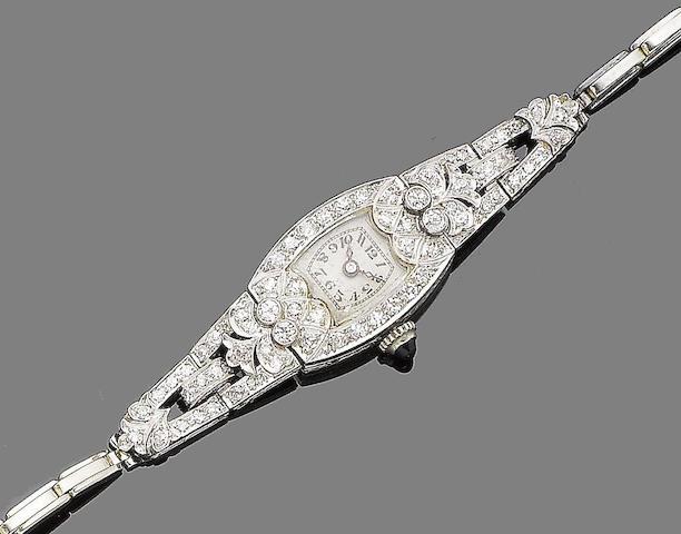 An art deco sapphire and diamond cocktail watch,
