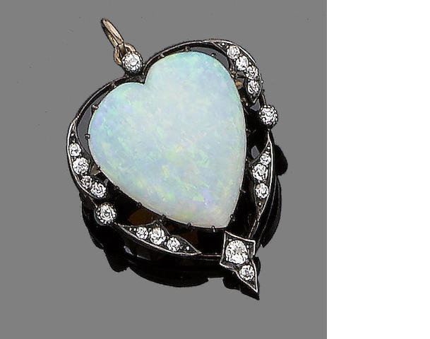 A gold, opal and diamond brooch/pendant,