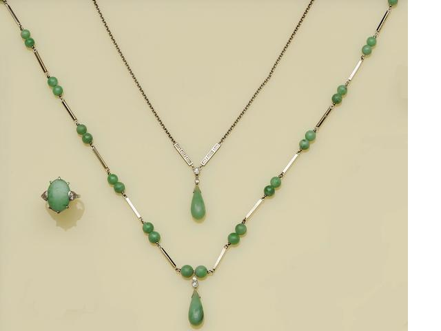 Two jade necklaces and a jade panel ring (3)