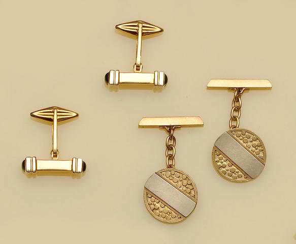 Wempe: A pair of onyx set cufflinks and a pair of 9ct gold cufflinks (2)