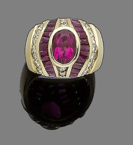 A tourmaline, ruby and diamond dress ring