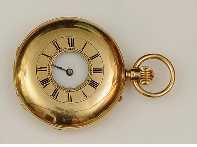 A late Victorian 18ct gold half hunter fob watch