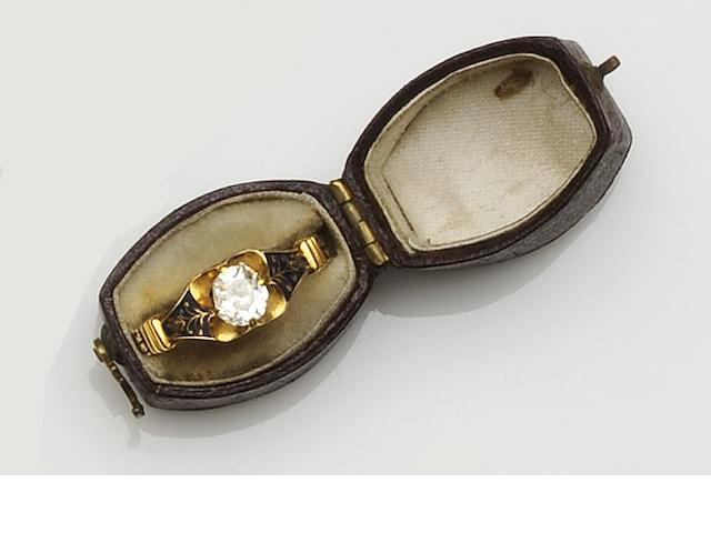A Victorian enamel and diamond ring