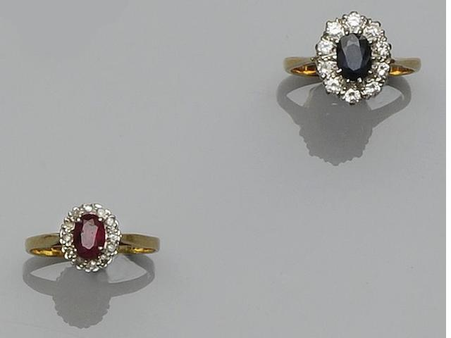 Two gem-set cluster rings