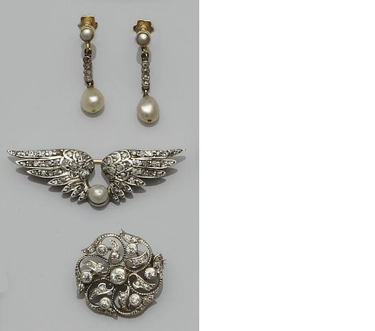 Two diamond set brooches and a pair of diamond and pearl earpendants (3)