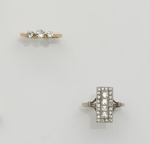A diamond panel ring and a diamond three stone ring (2)