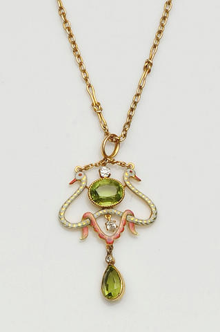 A diamond, peridot and enamel pendant