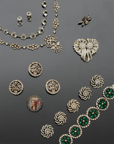 A collection of paste and other jewellery
