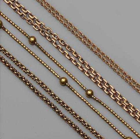 A late 19th/early 20th century fancy-link chain (4)