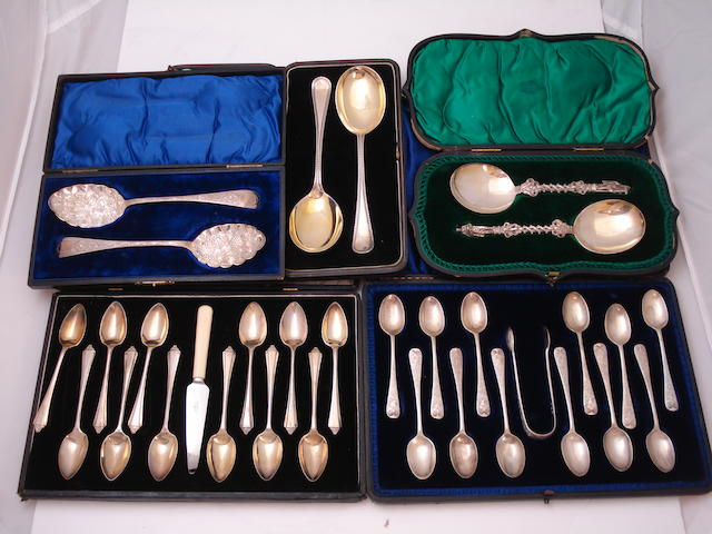 A collection of cased silver flatware Various makers and dates