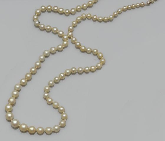 A single strand graduated pearl necklace