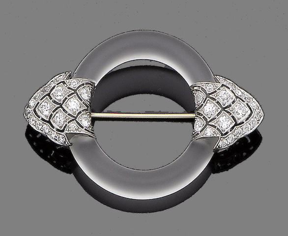 An art deco rock crystal and diamond brooch, by Yard Inc,
