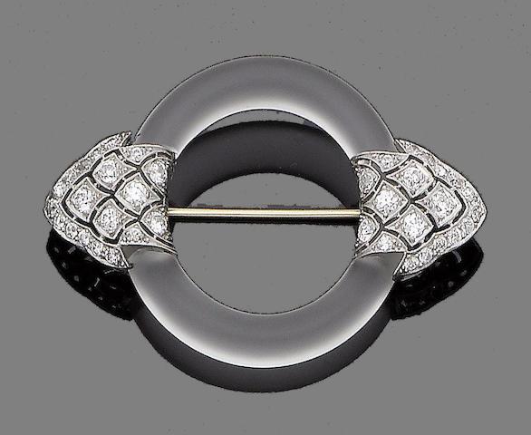 An art deco rock crystal and diamond brooch, by Yard Inc,