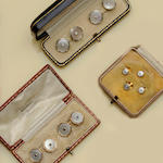 A pair of diamond and mother o' pearl cufflinks (3)