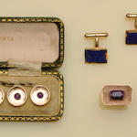 A pair of lapis lazuli set cufflinks (3)