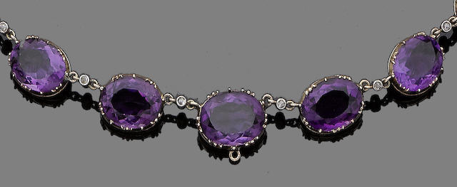 A 19th century amethyst and diamond rivière necklace
