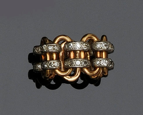 A diamond band dress ring