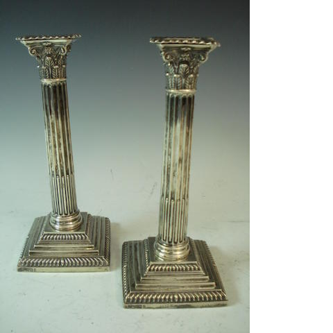 1 pair silver candlesticks