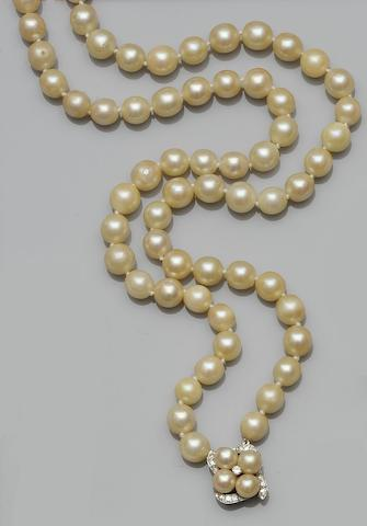 A two row cultured pearl necklace