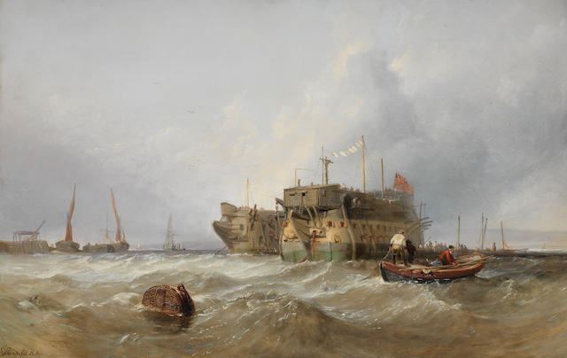Clarkson Stanfield RA (British, 1793-1867) Prison hulks on the Medway