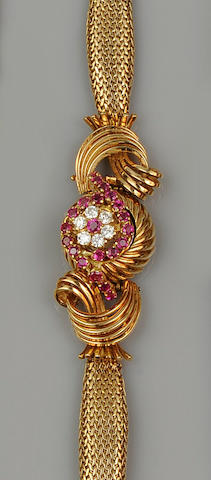 An 18ct gold ruby and diamond dress watch