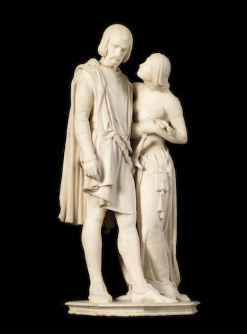Pio Fedi, Italian (1816-1892)  A Carrara marble figural group of Dante and Pia, from Dante's 'Divine Comedy'