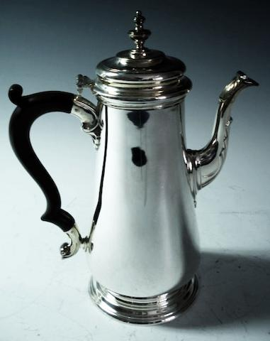 A silver baluster coffee pot by C.J.Vander, London 1971