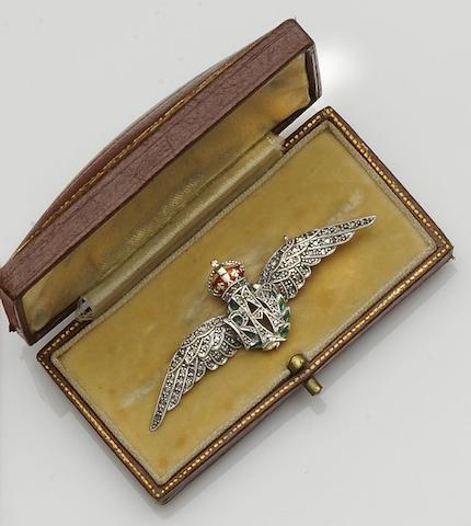 A diamond and enamel RAF sweetheart brooch