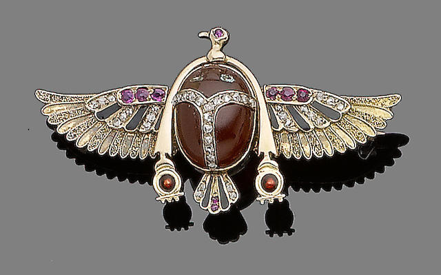 An Egyptian revival scarab brooch