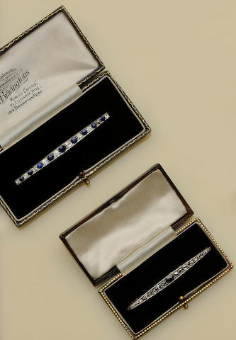 Two sapphire and diamond bar brooches (2)