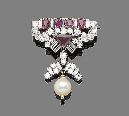 A ruby, cultured pearl and diamond brooch