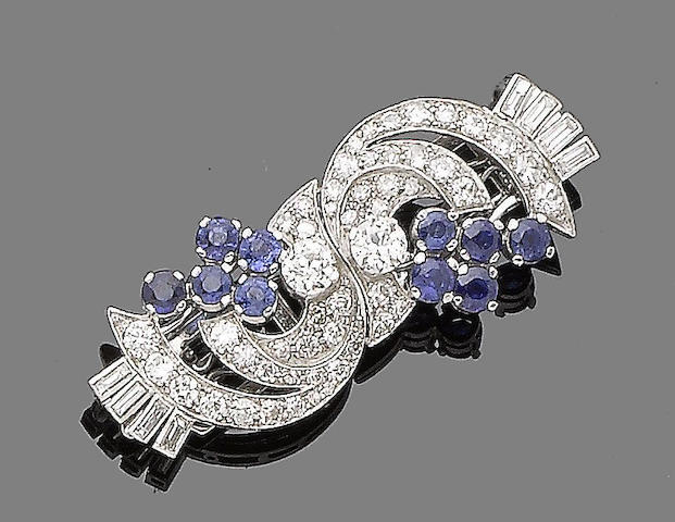 An art deco sapphire and diamond clip brooch,