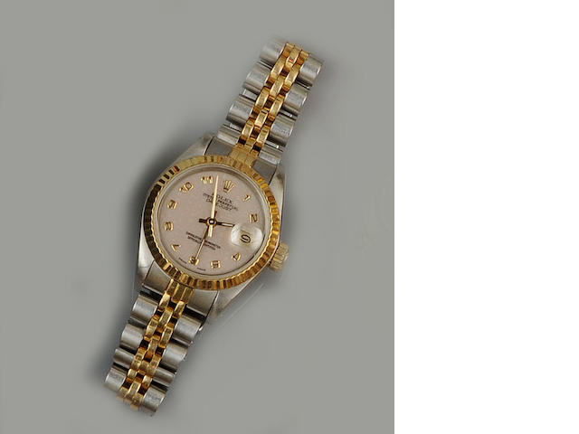 Rolex: A lady's stainless steel and gold Oyster Perpetual Date Just wristwatch