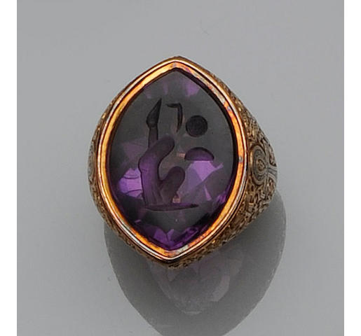 An amethyst 'Bishop's' ring