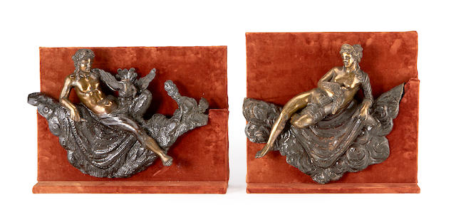 A pair of Baroque style bronze figural reliefs