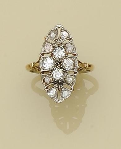 A diamond panel ring,
