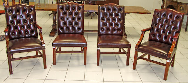 A set four modern library chairs,
