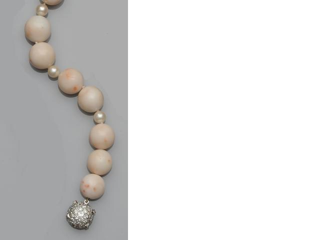 A coral and cultured pearl necklace