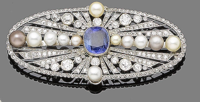 A sapphire, pearl and diamond brooch