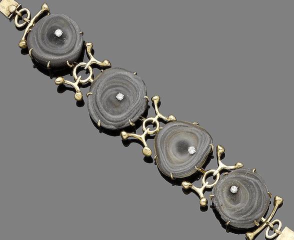 An agate geode bracelet,