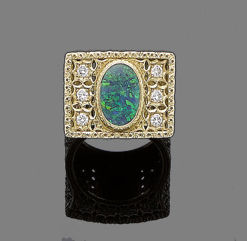 An opal and diamond ring, by Buccellati