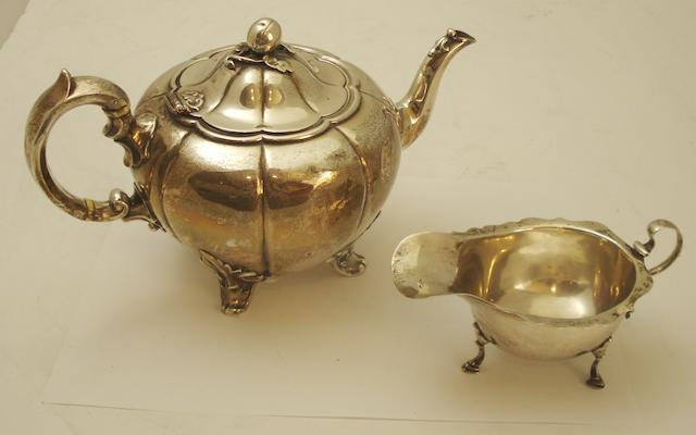 A Victorian silver teapot By Edward John and William Barnard, London date letter rubbed