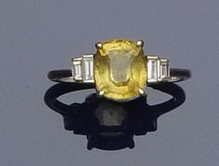A chrysoberyl and diamond ring