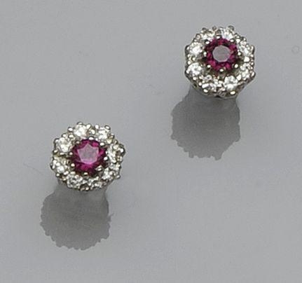 A pair of ruby and diamond cluster earstuds