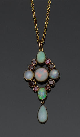 An opal and garnet pendant necklace