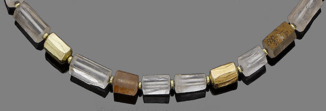 A quartz and gold necklace, by Charmian Harris