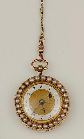 An enamel and half pearl open faced fob watch
